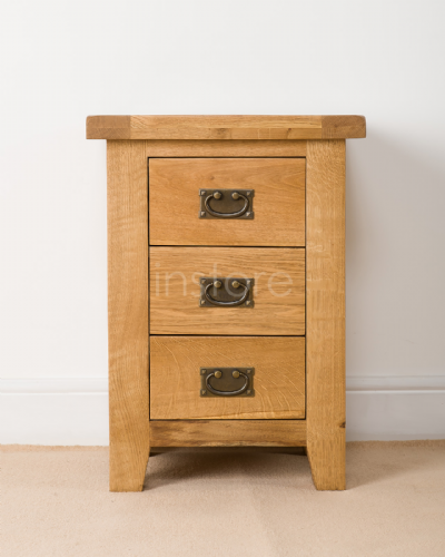 Loxley Oak 3 Drawer Bedside Chest
